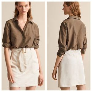 NWT. Massimo Dutti Beige Belted Skirt. Size 6.